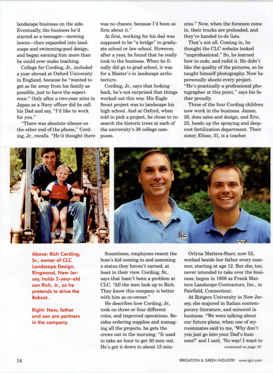 Irrigation & Green Industry magazine article about Rich Cording Sr. & Rich Cording Jr. - Page 3