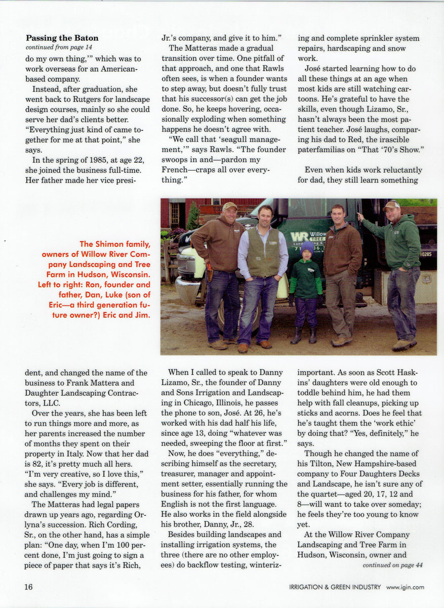 Irrigation & Green Industry magazine article about Rich Cording Sr. & Rich Cording Jr. - Page 4
