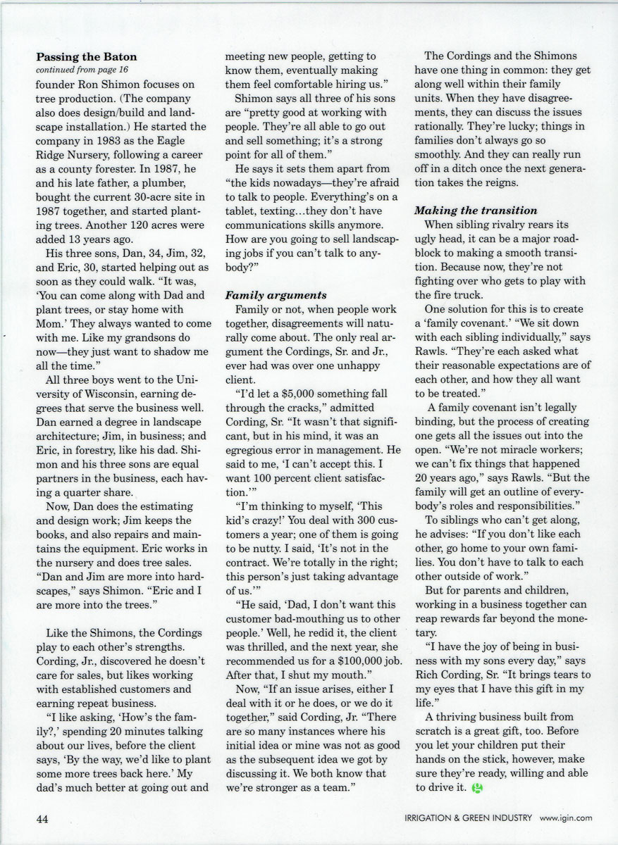 Irrigation & Green Industry magazine article about Rich Cording Sr. & Rich Cording Jr. - Page 5