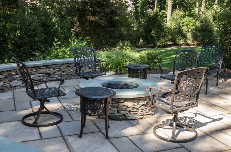 patio and gas fire pit in saddle river