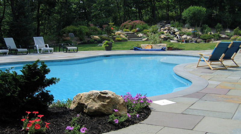 saddle river nj landscape design, swimming pool with waterfall