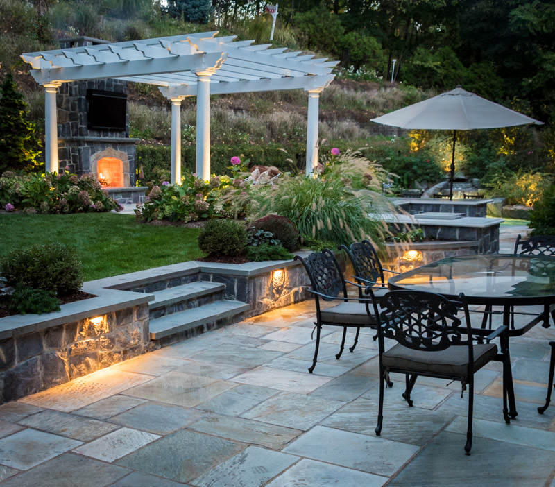 landscape design in franklin lakes nj, patio, pergola, pool, plantings