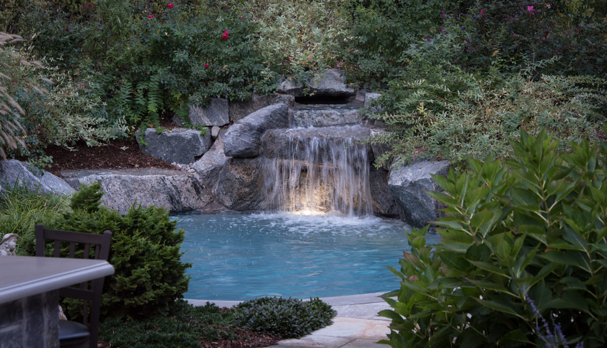 bergen county pool with pool waterfall