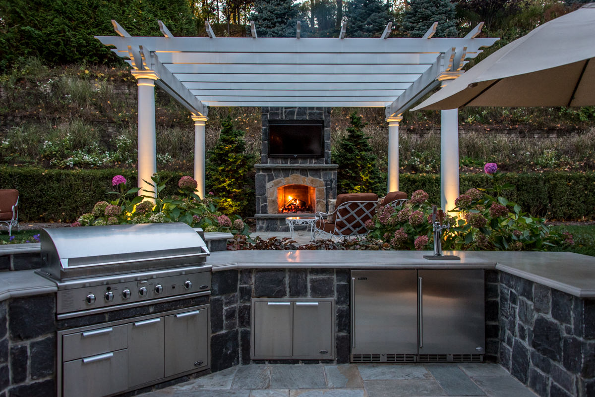 franklin lakes landscape, outdoor kitchen, pergola, outdoor fireplace