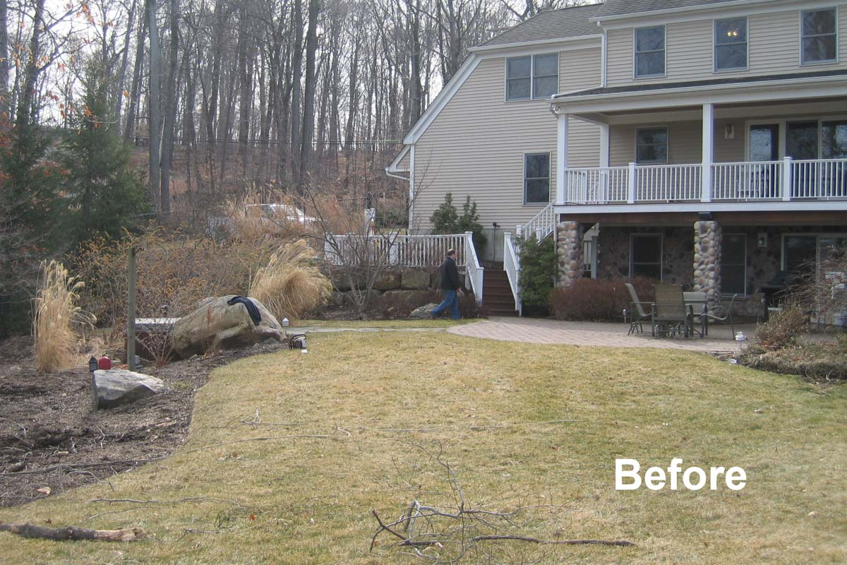 before photo of lake hopatcong landscape design