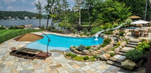 landscape design with patio, pool, custom waterslide