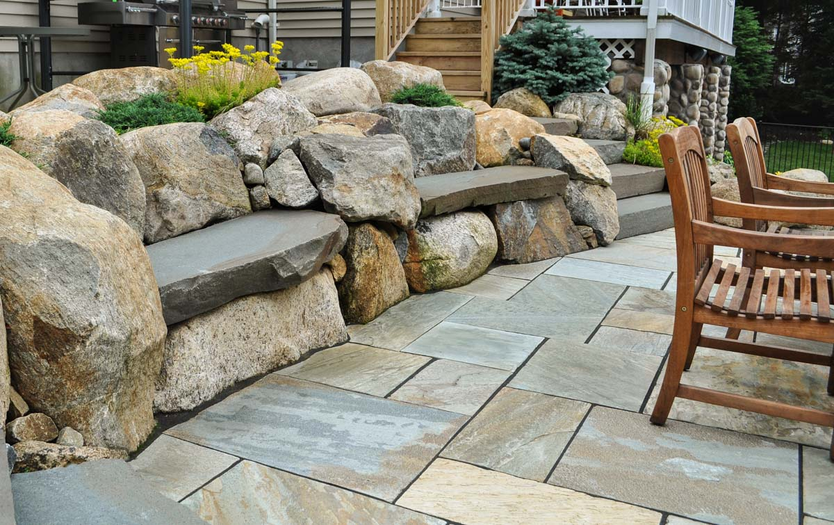 patio with stone slap rock seats