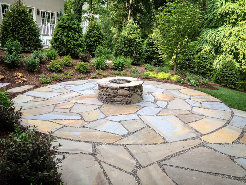 landscape design in summit with patio and fire pit