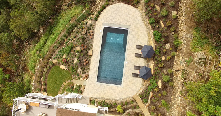 drone photo, nj landscape design with pool