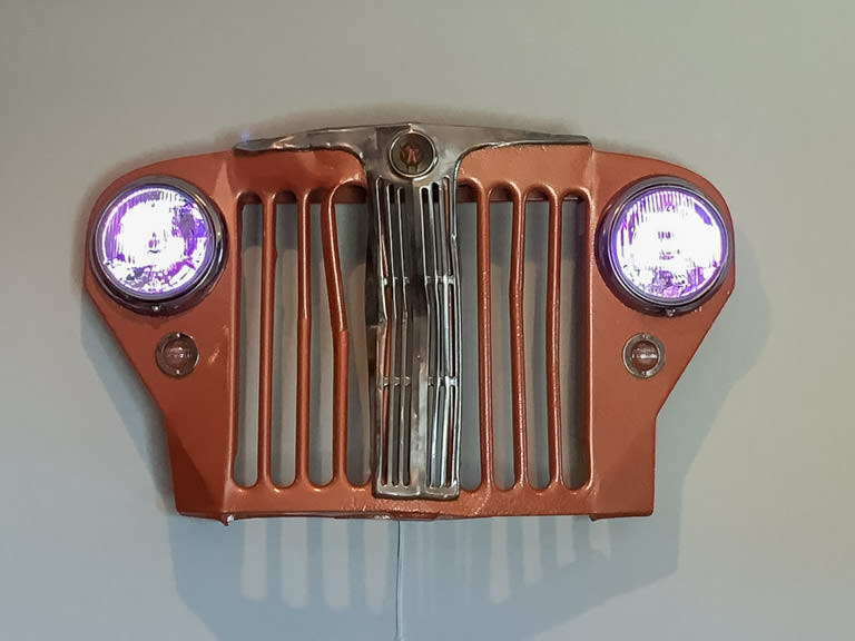 restored jeep willys grill with lights