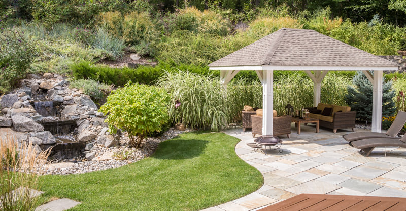 montville landscape with gazebo, patio, pondless waterfall