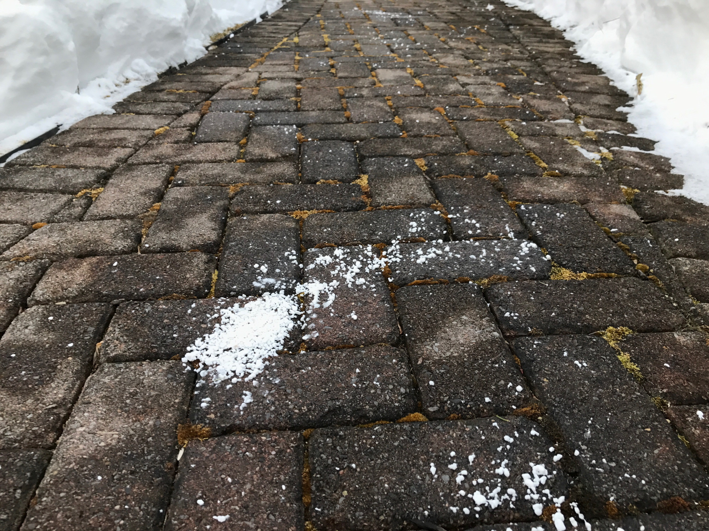 rock salt on pavers