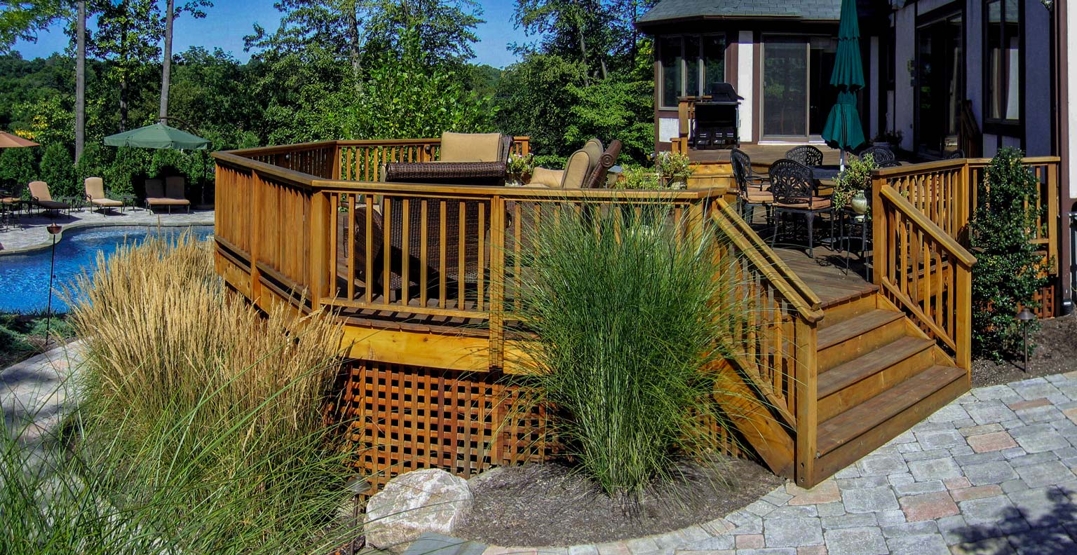 before and after landscape pictures, after, deck design