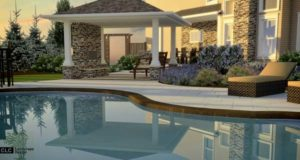 3d rendering of pool, patio, and pergola