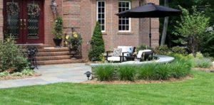 bluestone walkway, stonework, seat wall, landscaping - watchung, nj