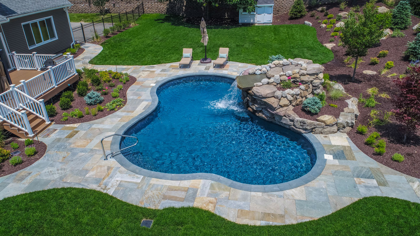 ... backyard; northern nj vinyl swimming pool with pool waterfall ... - Totowa Backyard Makeover - CLC Landscape Design