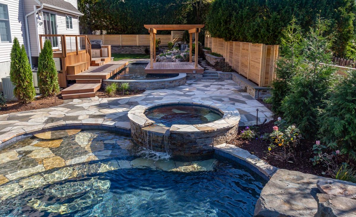 New york koi pond and pool clc landscape design for Koi pond next to pool